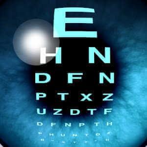 Eye exam at optometrist